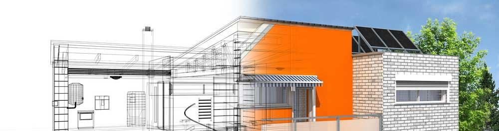 website banner showing sketch of house